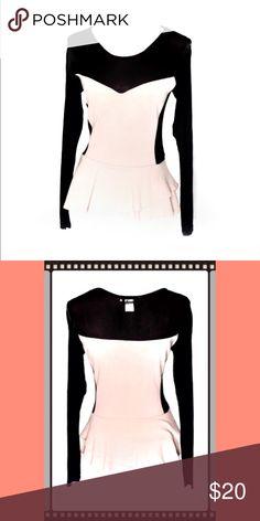 ❣️Sale ARDEN B Pink & Black Peplum Long Sleeve Top excellent condition - Arden b - womens size medium - black see thru mesh & light pink long sleeve Peplum shirt Arden B Tops