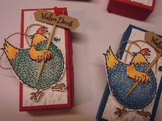Huhu Ihr Lieben,   hier ist die versprochene Anleitung für die Hühner-Goodies....ich habe sie gestern noch einmal gebastelt, diesmal farbig...