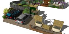 With enough room for two cars, we also managed to squeeze a cycle store in next to the house to free up space in the back garden Landscape Design, Garden Design, Cuprinol Garden Shades, Cycle Store, Circular Patio, Sandstone Paving, Hardwood Decking, Fiberglass Planters, Earth Design