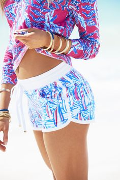 Lilly Pulitzer Chrissy Beach Short shown in Resort White Red Right Return.