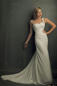 Gesammelte Perlenbesetzt ärmellos Anständiges Eine Schulter Brautkleid