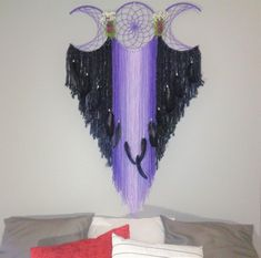 Huge Purple and Black Triple Moon Dream Catcher, Headboard wall Hanging with Real Dried flowers, Native Made with Pagan Pride Dream Catcher Patterns, Dream Catcher Craft, Dream Catchers, Shades Of Purple, Color Shades, Purple And Black, Goddess Symbols, Moon Symbols, Purple Dream Catcher