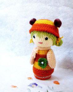 Amigurumi kokeshi pattern B Bee Crochet Kokeshi doll by TGLDdoll