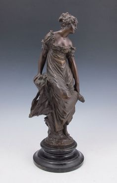 EBERLEIN, Gustav Heinrich, (German, 1847-1926): Young Maiden at Rest in the Forest, Bronze, 12 1/2'' h, affixed to a beveled circular plinth, total height is 15'' h, signed on the base.
