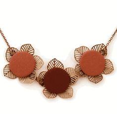 Earth Tones Triple Floral Necklace
