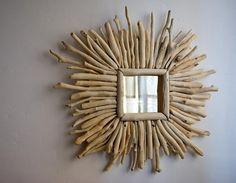 Decorative mirror driftwood mirror sunburst style by MarzaShop, $53.00
