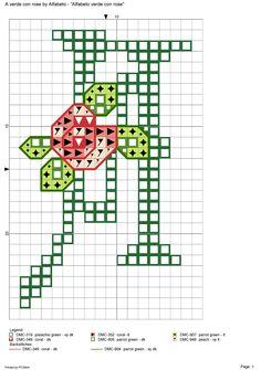 Alfabeto verde con rose: A