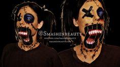 Scary & Creepy Voodoo Doll Makeup Halloween Makeup Tutorial