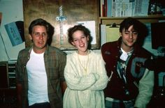 Emilio Estevez, Molly Ringwald and Judd Nelson on set of The Breakfast Club