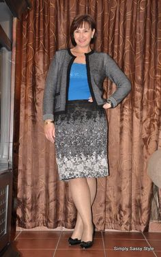 Black and white lace skirt, with a Chanel inspired cardigan and cobal blue cami #Truworths #Identity