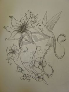 Tattoos Of Humming Bird: Hummingbird Tattoo Designs For Girls Hummingbird Tattoo Meaning, Hummingbird Sketch, Bird Tattoo Back, Bird Tattoo Wrist, Tattoo Sketches, Tattoo Drawings, Drawing Sketches, Mom Drawing, Sketching