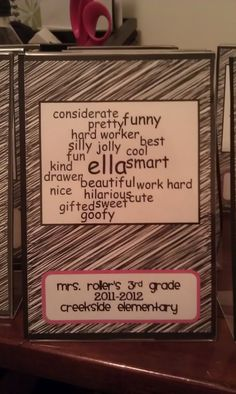 Cute word clouds from Tonya's Treats for Teachers. I think this would be a great beginning of the year activity.