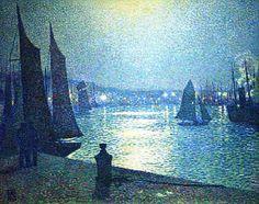 Theo van Rysselberghe (Belgian, 1862-1926) - Moonlight Night in Boulogne, 1919