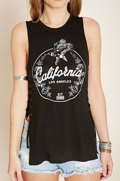 California Graphic Lace-Up Top