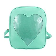 2017 Summer Candy Backpacks Transparent Love Heart Shape Pu Leather School Bags for Teenage Girls Kids Purse Lovely Ita Bag (green)