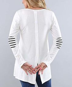 Loving this Ivory Striped Elbow Patch Tunic - Plus on #zulily! #zulilyfinds