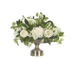 Rose Hydrangea (WF488): Rose Hydrangea, Cream Green, Silver Tray