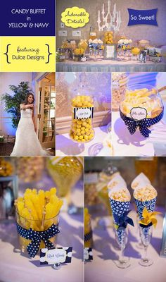 Yellow and Navy wedding candy buffet table another option for wedding favors? Candy Buffet Tables, Dessert Buffet, Candy Table, Buffet Ideas, Navy Yellow Weddings, Sapphire Blue Weddings, Wedding Yellow, Bar A Bonbon, Yellow Candy