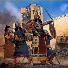 ssyrian king using an arrow during the siege of a city