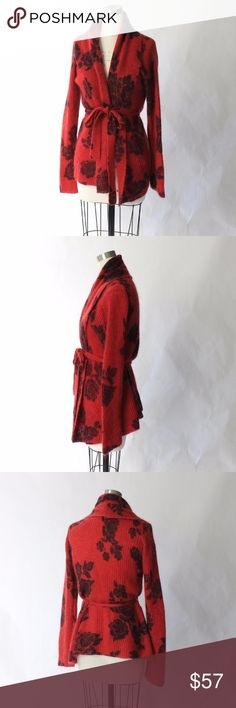 Lucky Brand Mohair Belted Floral Cardigan Sweater Lucky Brand open front, belted long cardigan sweater with soft black flowers against a red background. This sweater is cozy, romantic, and chic. In excellent condition. Size M. 33% Mohair 40% Nylon 27% Wool Lucky Brand Sweaters Cardigans