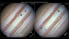 Jupiter and five moons: These annotated images, taken by the Hubble Space Telescope, show Jupiter with five of its moons: Io, Callisto, Europa, Amalthea and Thebe. (NASA, ESA and Z. Levay (STScI/AURA))