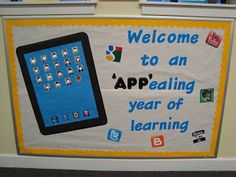 """Welcome Back Bulletin Board.  Student photos are the """"Apps"""""""