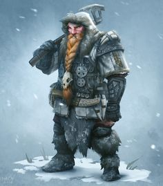 m Dwarf Ranger Medium Armor Axe winter snow mountains Thurin med Fantasy Dwarf, Fantasy Rpg, Medieval Fantasy, Fantasy Artwork, Fantasy Character Design, Character Concept, Character Inspiration, Character Art, Dungeons And Dragons Characters