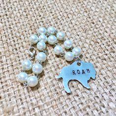 Stamped Buffalo Roam Pearl Beaded Bracelet