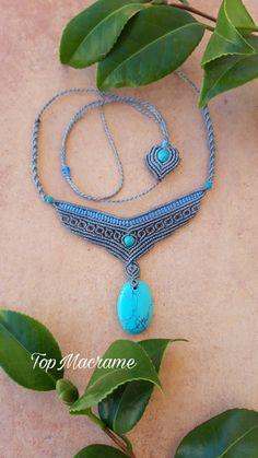 Handmade neckace with turquoise, macrame necklace by TopMacrame on Etsy Collar Macrame, Macrame Colar, Macrame Necklace, Macrame Jewelry, Fabric Jewelry, Wire Jewelry, Macrame Bracelet Patterns, Macrame Bracelet Tutorial, Diy Bracelets Easy