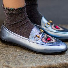 Best Shoes Fashion Month Street Style Gucci Metallic Loafers