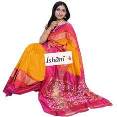 Ikat pure silk saree SKU: ISB5225 Contact : +918861255270 ishanisarees@gmail.com www.facebook.com/ishanisarees