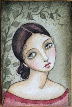 OOAK Original Watercolor Clara by A Kennedy girl por Pennystamper Art Journal Inspiration, Painting Inspiration, Abstract Faces, Arte Popular, Pastel, Pretty Art, Whimsical Art, Portrait Art, Face Art