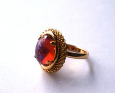 Vintage Glass Adjustable Ring with Mexican Fire Opal....by RinVinJewelry #ring #vintage #fireopal #dragonsbreath #adjustable
