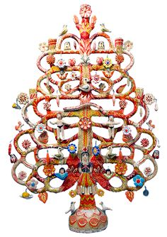Tree of Life by Aurelio Flores  The first potter to develop the more intricate candelabra and incense burners was Aurelio Flores, who began making them in the 1920s.