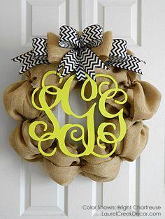 Chevron Initial Wreaths for Year Round Door by LaurelCreekWreaths, $115.00