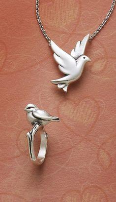 Bird in Flight Necklace and Bird Ring #JamesAvery