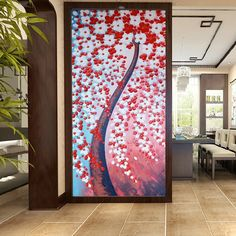 Hand-painted Blooming Red White Flower Tree painting for living room bedroom home wall decor thick p