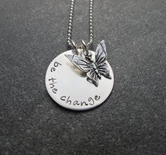 These are beautiful .Hand Stamped Jewelry Be The Change Sterling by klacustomcreations, $48.90