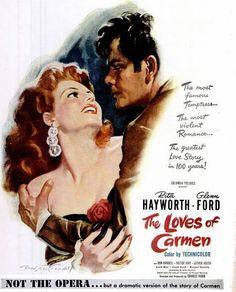 Rita Haywwod, Glenn Ford, Loves of Carmen, Movie Poster