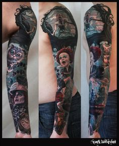 Alice in wonderland tattoos on arm. That's an awesome piece. I love it.