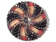 (1) 32mm Rare antique Victorian Czech fancy gold gilt lacy glass flower button