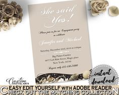 She Said Yes Invitation Editable in Seashells And Pearls Bridal Shower Brown And Beige Theme, she said yes shower, party stuff - 65924 #bridalshower #bride-to-be #bridetobe