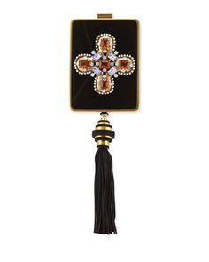 Embellished Tassel Chain-Strap Minaudiere, Black by Tory Burch at Neiman Marcus.