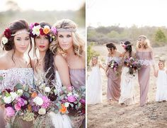 Rustic Bohemian Wedding Ideas - Lilac Boho Lace Bridesmaid Dresses