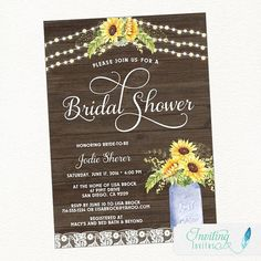 Sunflower Bridal Shower Invitation Rustic Country