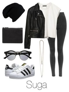 """""""Ideal Type Outfit: Suga"""" by btsoutfits ❤ liked on Polyvore featuring Priory of Ten, Zara, Serefina, ASOS, adidas Originals and Retrò"""