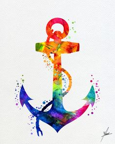 Anchor Watercolor Painting Nautical Decor Coastal por PainterlyDots