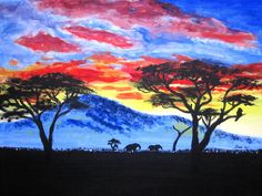 African Sunset Art Print by ilylilyart Africa Painting, India Painting, Landscape Paintings, Watercolor Paintings, Original Paintings, Painting Canvas, Landscape Art, Silhouette Painting, Animal Silhouette
