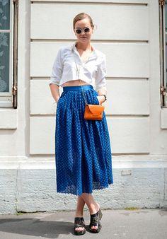 Who: Mia Stoelen, fashion blogger Wearing: Filippa K shirt and bag, H&M skirt, Fendi shoes and Kaibosh sunglasses