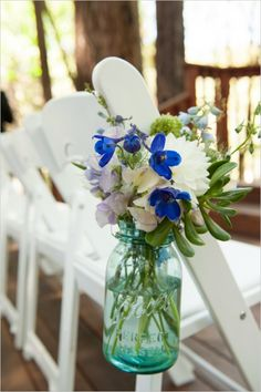 Like the idea of ball jars and wildflowers for ceremony
